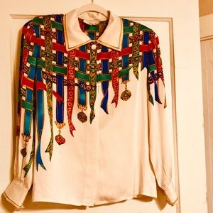 Vintage Adrianna Papell pure silk blouse.